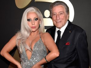 Lady Gaga and Tony Bennett at the 2015 Grammy Awards