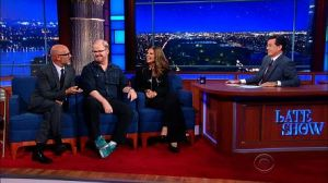 Andrew Sullivan, Jim Gaffigan, and Maria Shriver discuss being Catholic with Stephen Colbert on September 24.