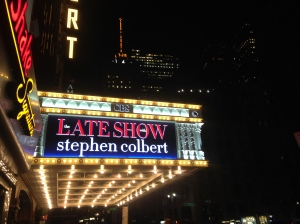The Ed Sullivan Theater off Times Square lit up following the Septemeber 24 taping of