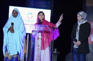 Malala Yousafzai speaks at the 2015 Global Citizen Festival on September 26, 2015.
