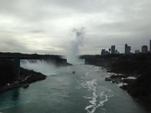 The first glimpse of Niagara Falls.
